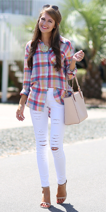 white-skinny-jeans-r-pink-magenta-plaid-shirt-necklace-tan-bag-tan-shoe-sandalh-howtowear-fashion-style-outfit-spring-summer-hairr-lunch.jpg