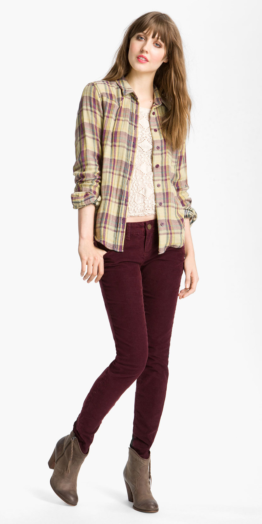 burgundy-skinny-jeans-tan-shoe-booties-yellow-plaid-shirt-fall-winter-hairr-weekend.jpeg