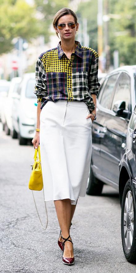 white-aline-skirt-yellow-bag-blonde-pony-sun-burgundy-shoe-pumps-yellow-plaid-shirt-green-dark-plaid-shirt-spring-summer-lunch.jpg