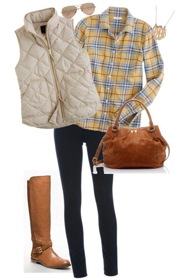 blue-navy-skinny-jeans-white-vest-puffer-yellow-plaid-shirt-sun-cognac-bag-cognac-shoe-boots-fall-winter-weekend.jpg