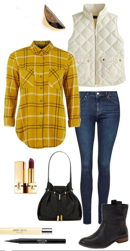blue-med-skinny-jeans-yellow-plaid-shirt-white-vest-puffer-black-bag-black-shoe-booties-ring-fall-winter-weekend.jpg