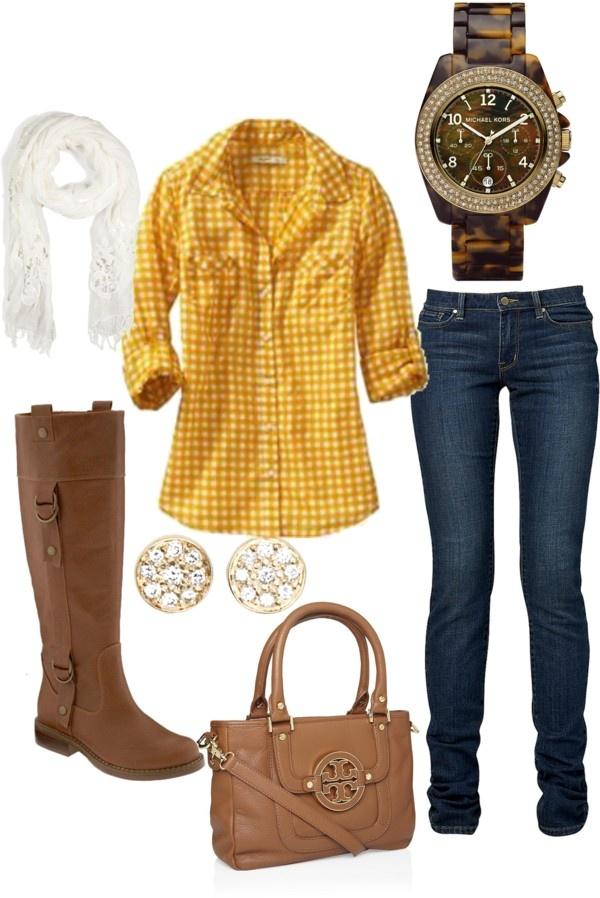 blue-navy-skinny-jeans-white-scarf-watch-cognac-bag-cognac-shoe-boots-yellow-plaid-shirt-fall-winter-weekend.jpg