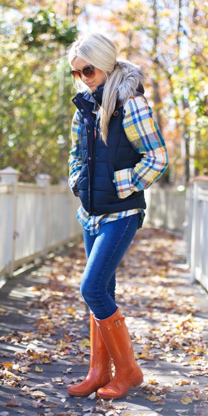 blue-med-skinny-jeans-orange-shoe-boots-rain-wellies-blue-navy-vest-puffer-pony-yellow-plaid-shirt-fall-winter-blonde-weekend.jpg