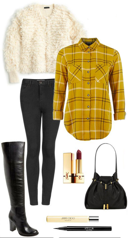 black-skinny-jeans-yellow-plaid-shirt-black-shoe-boots-black-bag-white-cardigan-fur-fuzz-fall-winter-dinner.jpg