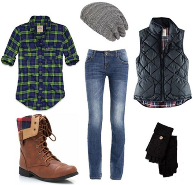 blue-med-skinny-jeans-green-emerald-plaid-shirt-black-vest-puffer-cognac-shoe-booties-beanie-gloves-howtowear-fashion-style-outfit-fall-winter-weekend.jpg