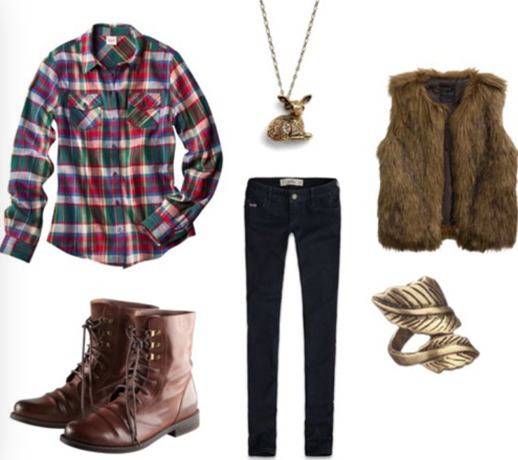 black-skinny-jeans-green-emerald-plaid-shirt-brown-vest-fur-howtowear-fashion-style-outfit-fall-winter-necklace-ring-brown-shoe-booties-weekend.jpg
