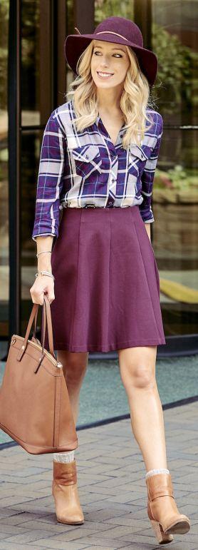 purple-royal-mini-skirt-purple-royal-plaid-shirt-hat-cognac-bag-tote-cognac-shoe-booties-howtowear-fashion-style-outfit-blonde-fall-winter-lunch.jpg