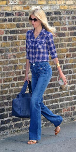 blue-med-flare-jeans-purple-royal-plaid-shirt-sun-blue-bag-tote-cognac-shoe-sandalh-spring-summer-blonde-weekend.jpeg