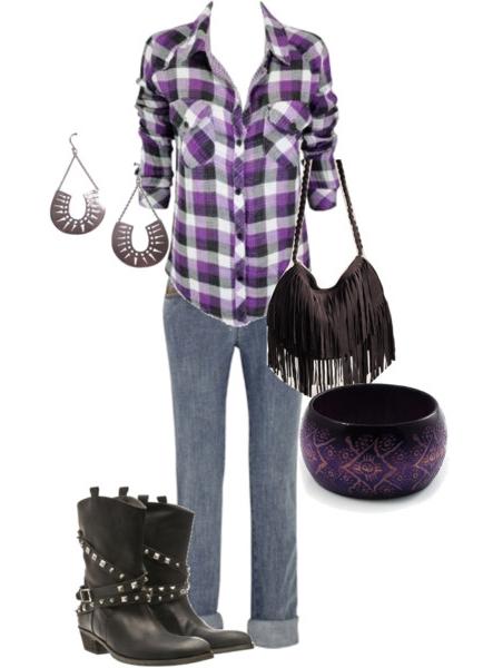 blue-med-skinny-jeans-purple-royal-plaid-shirt-earrings-black-bag-fringe-bracelet-black-shoe-booties-howtowear-fashion-style-outfit-spring-summer-weekend.jpg