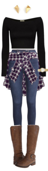 blue-med-skinny-jeans-black-tee-crop-studs-purple-royal-plaid-shirt-brown-shoe-boots-howtowear-fashion-style-fall-winter-outfit-weekend.jpg