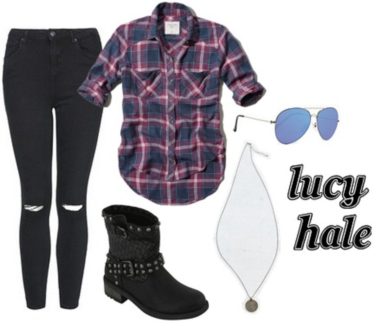 black-skinny-jeans-purple-royal-plaid-shirt-necklace-black-shoe-booties-sun-lucyhale-howtowear-fashion-spring-summer-style-outfit-weekend.jpg