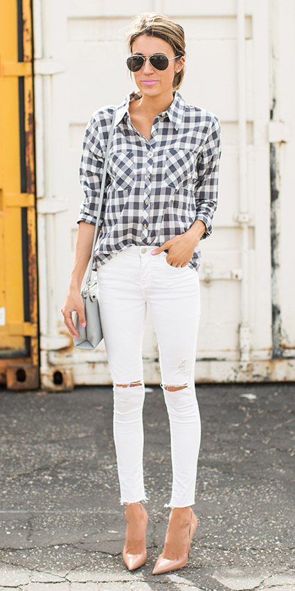 white-skinny-jeans-hairr-grayl-plaid-shirt-gray-bag-sun-tan-shoe-pumps-spring-summer-lunch.jpg