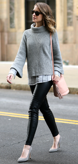 black-leggings-leather-grayl-sweater-pink-bag-gray-shoe-pumps-sun-earrings-grayl-plaid-shirt-fall-winter-hairr-lunch.jpg