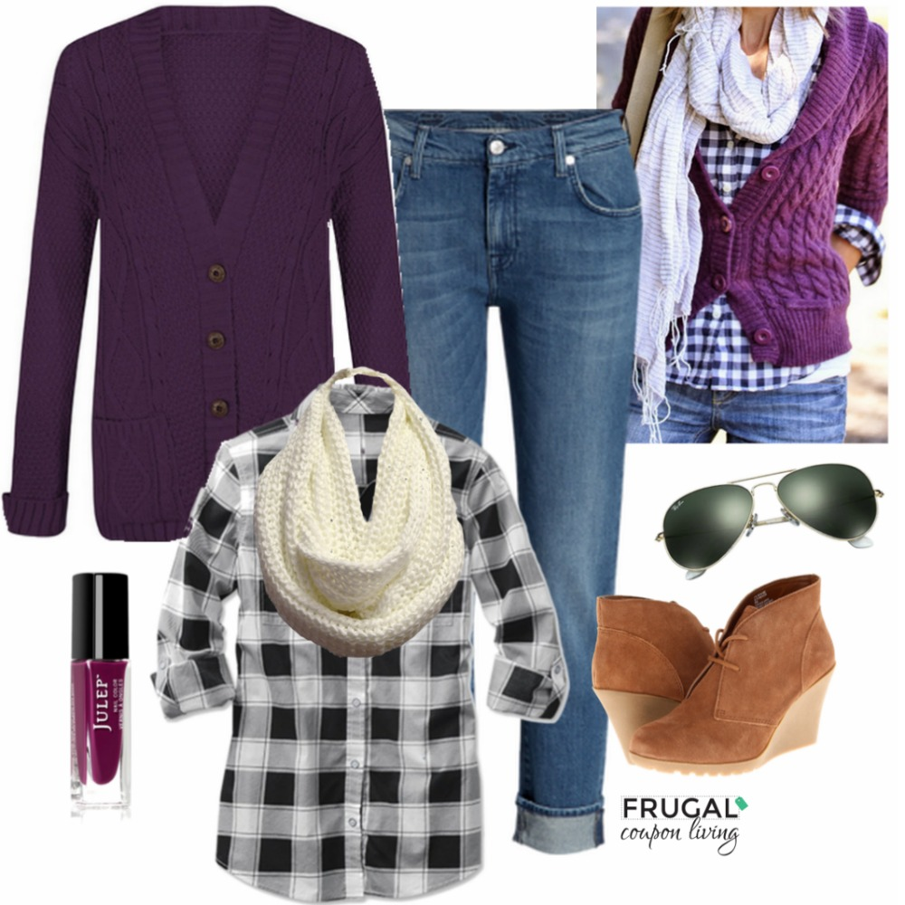blue-med-skinny-jeans-black-plaid-shirt-white-scarf-purple-royal-cardiganl-cognac-shoe-booties-sun-howtowear-fashion-style-outfit-fall-winter-weekend.jpg