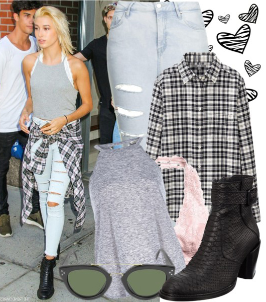 blue-light-skinny-jeans-grayl-tee-white-bralette-black-shoe-booties-blonde-black-plaid-shirt-sun-howtowear-fashion-style-outfit-fall-winter-weekend.jpg
