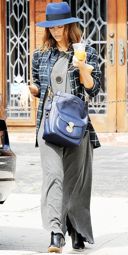 grayd-dress-maxi-black-plaid-shirt-blue-bag-hat-necklace-pend-jessicaalba-fall-winter-hairr-weekend.jpg