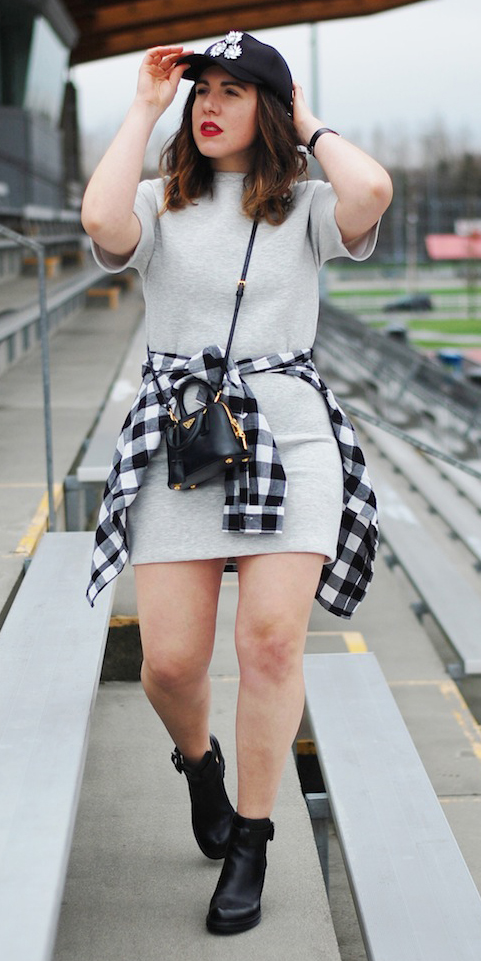 grayl-dress-black-plaid-shirt-black-shoe-booties-hat-cap-black-bag-crossbody-tshirt-wear-style-fashion-fall-winter-brunette-weekend.JPG