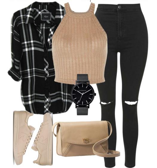 black-skinny-jeans-tan-top-crop-halter-black-plaid-shirt-tan-shoe-sneakers-tan-bag-watch-howtowear-fashion-style-outfit-spring-summer-weekend.jpg