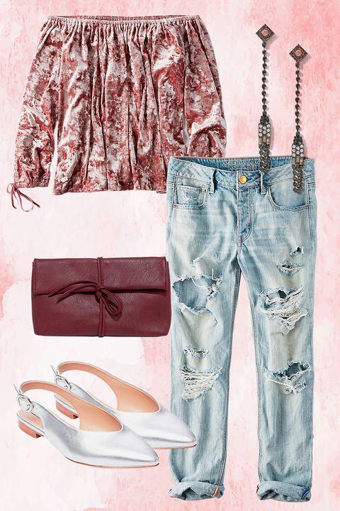 blue-light-boyfriend-jeans-earrings-pink-light-top-offshoulder-velvet-burgundy-bag-gray-shoe-flats-metallic-fall-winter-thanksgiving-outfits-lunch.jpg