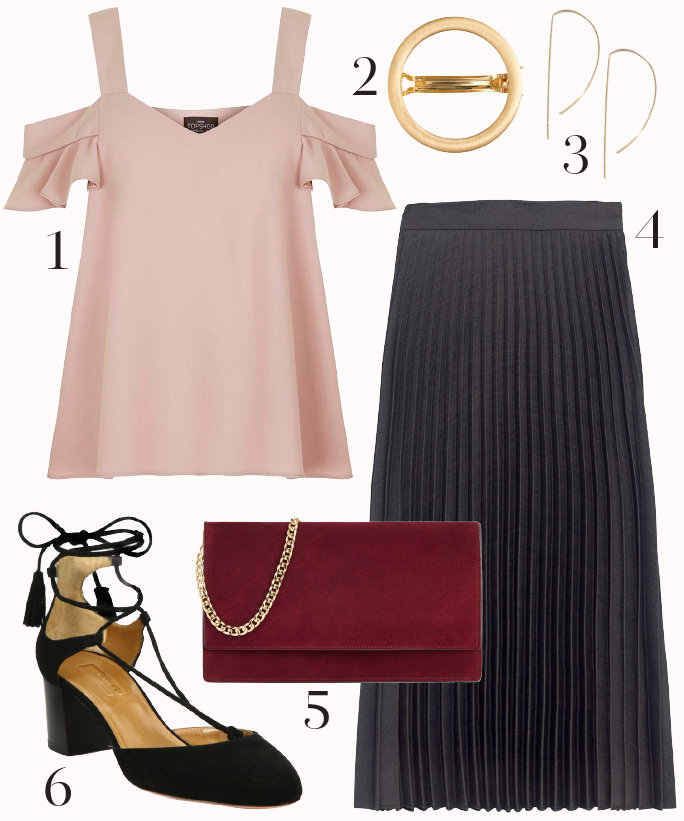 black-midi-skirt-r-pink-light-top-red-bag-howtowear-fashion-style-outfit-fall-winter-offshoulder-ruffle-earrings-pleat-black-shoe-pumps-date-dinner.jpg