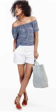 white-shorts-blue-med-top-offshoulder-white-bag-cognac-shoe-sandals-howtowear-fashion-style-outfit-spring-summer-oldnavy-brun-weekend.jpg