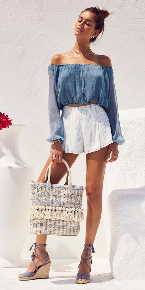 white-shorts-white-bag-blue-med-top-offshoulder-hairr-bun-collar-necklace-blue-shoe-sandalw-spring-summer-weekend.jpg