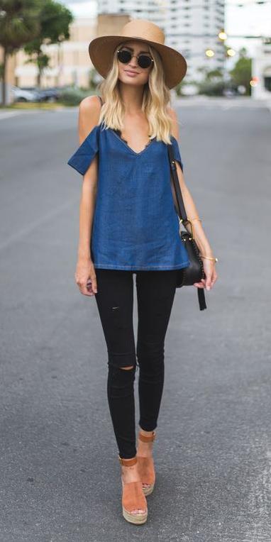 black-skinny-jeans-cognac-shoe-sandalw-blue-med-top-offshoulder-blonde-sun-hat-black-bag-spring-summer-weekend.jpg