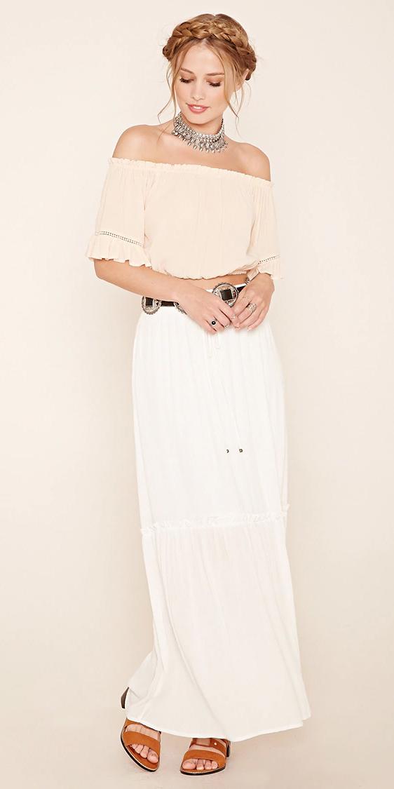 white-maxi-skirt-white-top-crop-belt-bun-wear-style-fashion-spring-summer-offshoulder-choker-cognac-shoe-sandals-hairr-lunch.jpg