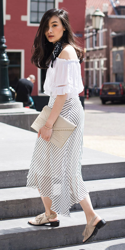 white-midi-skirt-white-top-offshoulder-tan-bag-black-scarf-neck-bandana-wear-outfit-spring-summer-tan-shoe-sandals-brun-lunch.jpg