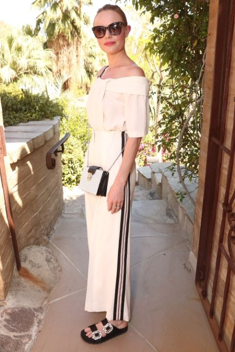 white-wideleg-pants-white-top-blouse-offshoulder-blonde-bun-sun-black-shoe-sandals-white-bag-katebosworth-trackpants-spring-summer-lunch.jpg