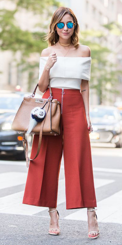 red-culottes-pants-white-top-offshoulder-collar-necklace-tan-bag-hairr-sun-white-shoe-sandalh-spring-summer-lunch.jpg