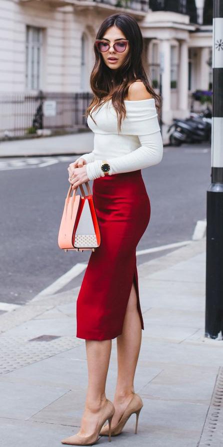 red-midi-skirt-white-top-offshoulder-tan-bag-sun-tan-shoe-pumps-fall-winter-hairr-dinner.jpg