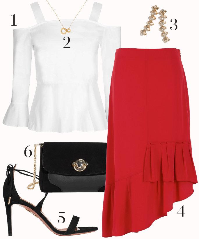 red-midi-skirt-white-top-blouse-black-bag-black-shoe-sandalh-howtowear-fashion-style-outfit-fall-winter-ruffle-offshoulder-earrings-datenight-dinner.jpg
