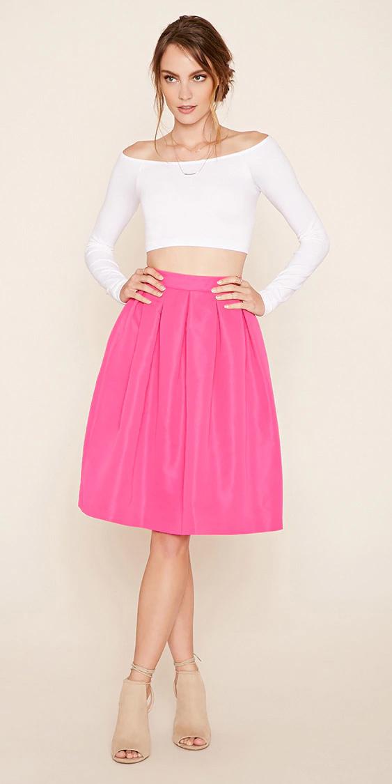 r-pink-magenta-aline-skirt-white-top-offshoulder-tan-shoe-sandalh-bun-wear-style-fashion-spring-summer-hairr-dinner.jpg