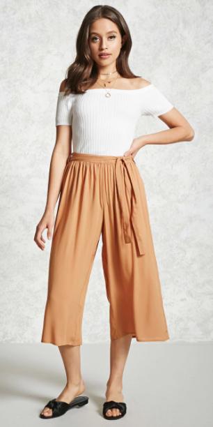camel-culottes-pants-white-top-offshoulder-necklace-black-shoe-sandals-slides-spring-summer-brun-weekend.jpg