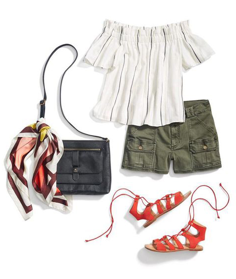 green-olive-shorts-white-top-offshoulder-orange-shoe-sandals-black-bag-burgundy-scarf-spring-summer-weekend.jpg