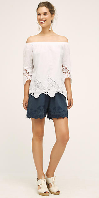 blue-navy-shorts-white-top-blouse-offshoulder-howtowear-fashion-style-outfit-spring-summer-earrings-bun-white-shoe-sandalw-hairr-lunch.jpg