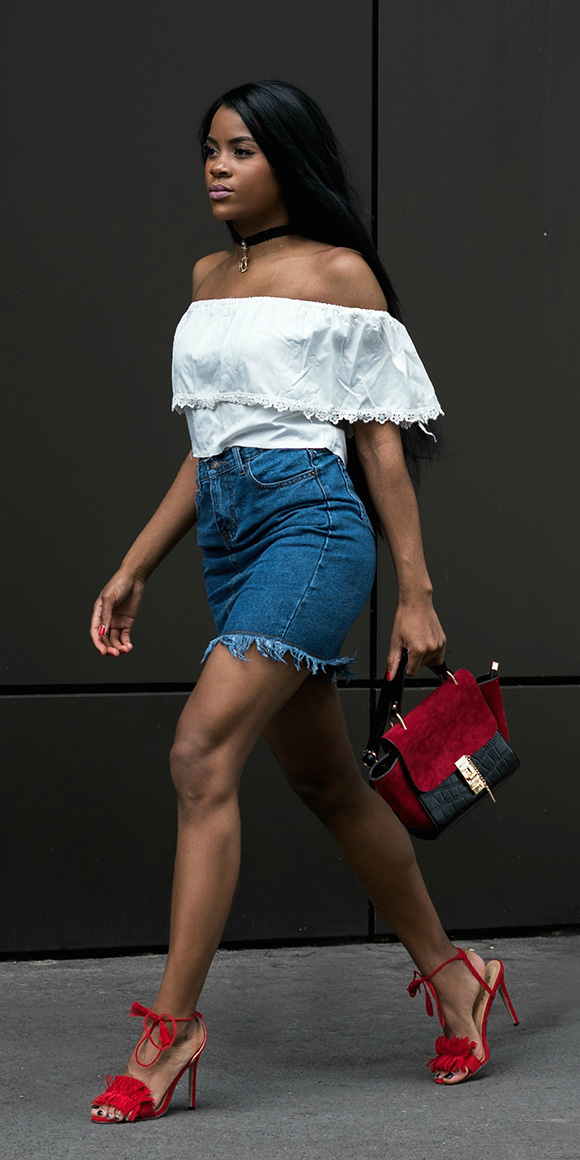 blue-med-mini-skirt-denim-red-bag-red-shoe-sandalh-choker-white-top-offshoulder-spring-summer-brun-dinner.jpg