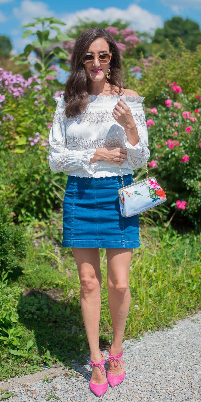 blue-med-mini-skirt-denim-white-top-offshoulder-pink-shoe-pumps-spring-summer-hairr-lunch.jpg