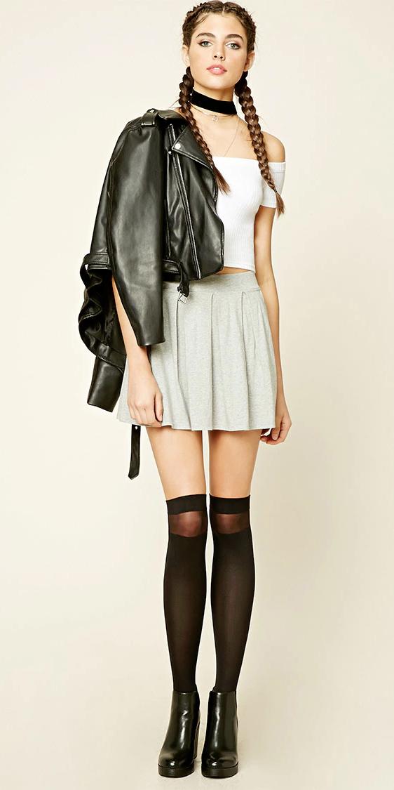 grayl-mini-skirt-white-top-offshoulder-black-jacket-moto-braids-wear-style-fashion-fall-winter-black-shoe-booties-socks-overtheknee-choker-hairr-lunch.jpg