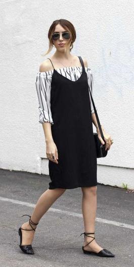 black-dress-slip-white-top-offshoulder-bun-sun-layer-black-shoe-flats-howtowear-spring-summer-hairr-lunch.jpg