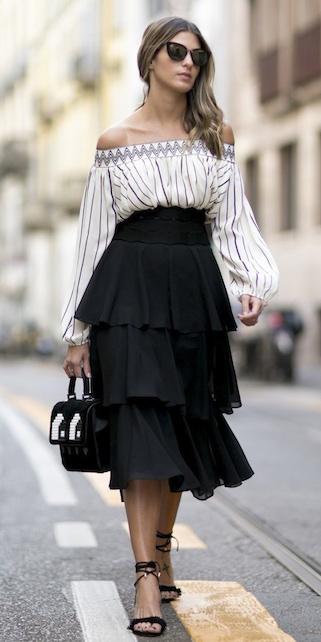 black-midi-skirt-black-bag-black-shoe-sandalh-tiered-ruffle-vertical-stripe-white-top-offshoulder-spring-summer-hairr-dinner.jpg