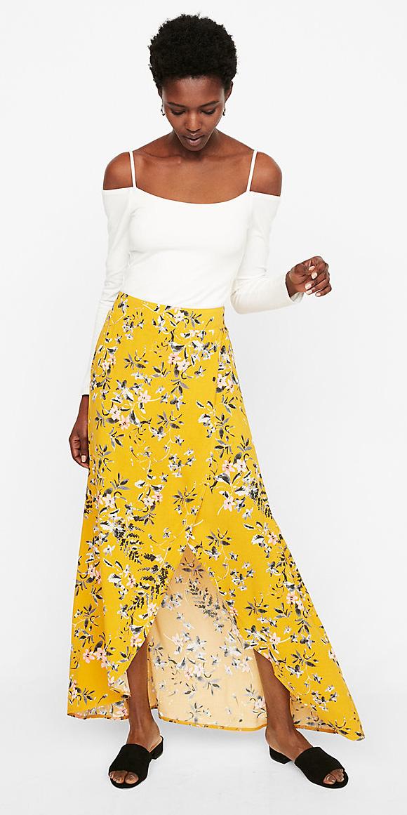 white-top-offshoulder-brun-floral-print-black-shoe-sandals-yellow-maxi-skirt-spring-summer-lunch.jpg