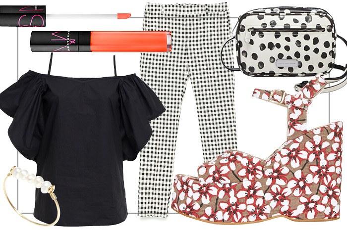 white-slim-pants-gingham-white-bag-dot-print-red-shoe-sandalw-bracelet-black-top-offshoulder-spring-summer-dinner.jpg