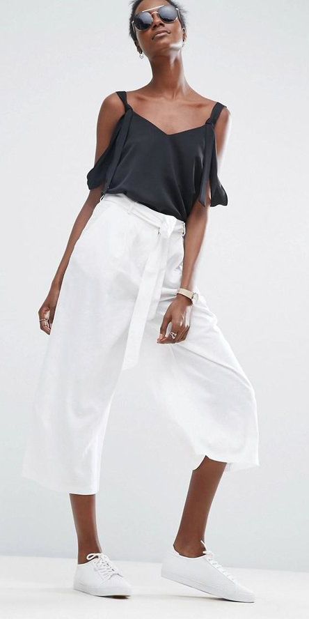 white-culottes-pants-black-top-offshoulder-sun-white-shoe-sneakers-spring-summer-brun-lunch.jpg