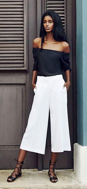 white-culottes-pants-black-top-offshoulder-black-shoe-sandals-spring-summer-brun-lunch.jpg