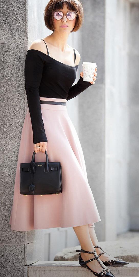 pink-light-midi-skirt-black-top-offshoulder-black-shoe-flats-black-bag-sun-spring-summer-hairr-lunch.jpg