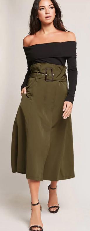 green-olive-midi-skirt-black-top-offshoulder-black-shoe-sandalh-howtowear-fall-winter-brun-dinner.jpg