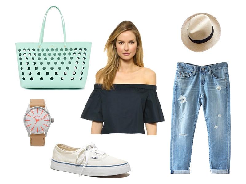 blue-light-boyfriend-jeans-green-bag-tote-watch-hat-panama-white-shoe-sneakers-black-top-offshoulder-spring-summer-blonde-weekend.jpg