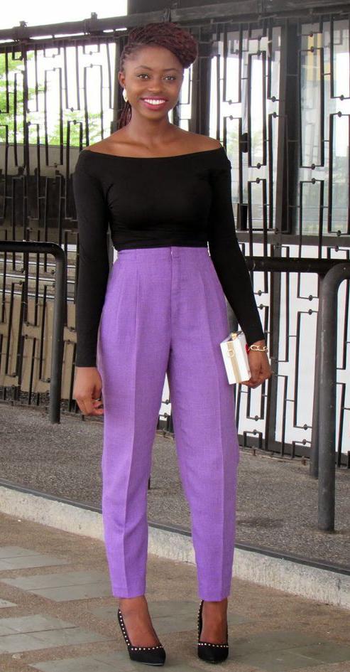 purple-light-pants-black-top-offshoulder-pony-white-bag-clutch-black-shoe-pumps-howtowear-fashion-style-outfit-spring-summer-brun-dinner.jpg